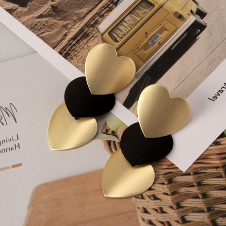 pendientes retro de oro negro con gran corazón NHDM295725's discount tags