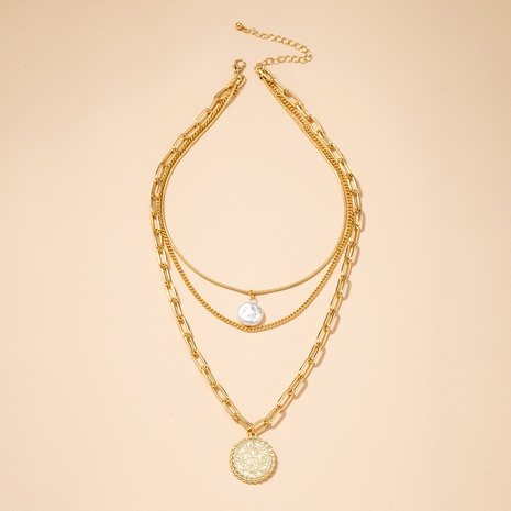 retro coin multilayer pearl pendant necklace  NHAI295782's discount tags