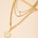 retro coin multilayer pearl pendant necklace  NHAI295782