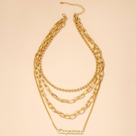 collier à pendentif lettre multicouche de mode simple NHAI295785's discount tags
