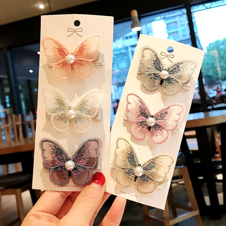 embroidered butterfly hairpin 3-piece set NHDQ295845's discount tags