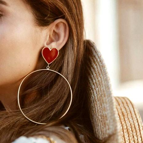 einfache Herz Mode große Kreis Ohrringe NHGY295865's discount tags
