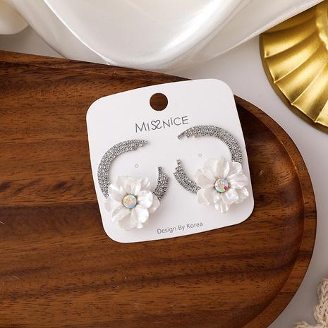 Resin flower half circle earrings  NHMS295870's discount tags