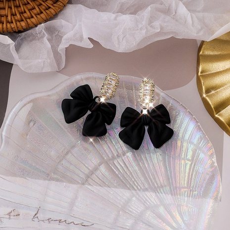 black bow crystal earrings  NHMS295909's discount tags