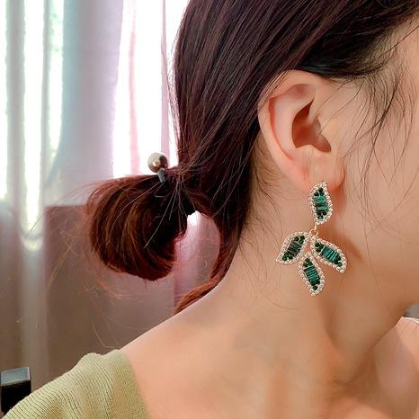 925 silver needle diamond leaf earrings  NHQC296028's discount tags