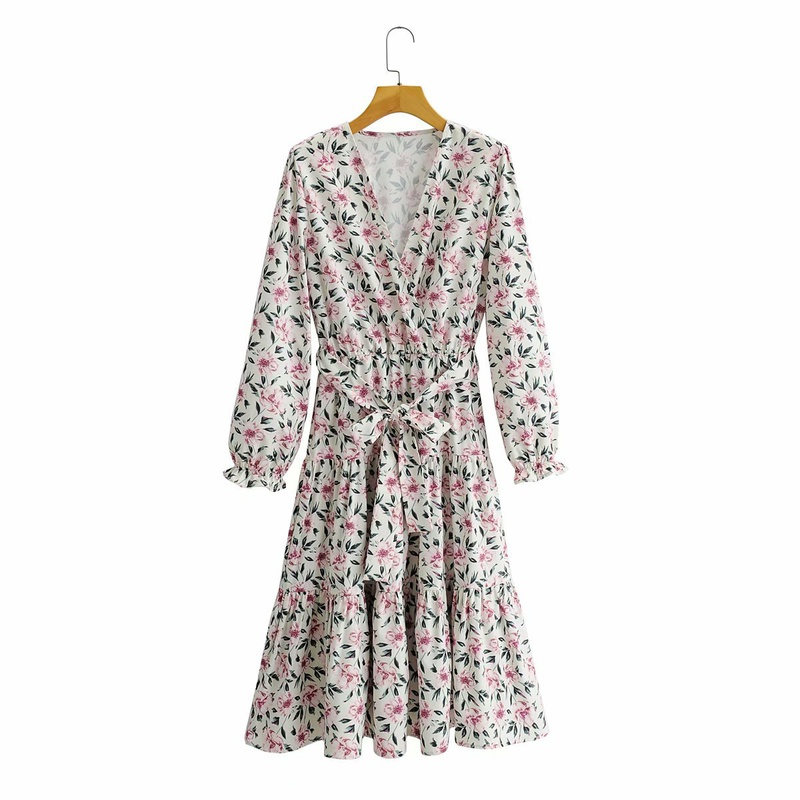 retro V-neck long-sleeved long-sleeved lace-up waist printed dress  NHAM296440