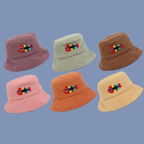 Korean  cute towel embroidered fish bone woolen fisherman hat NHTQ267126's discount tags