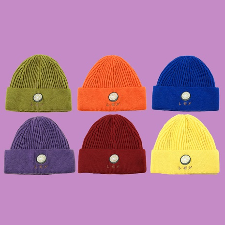 Cute lemon embroidery knitted  all-match fashion hat NHTQ267119's discount tags