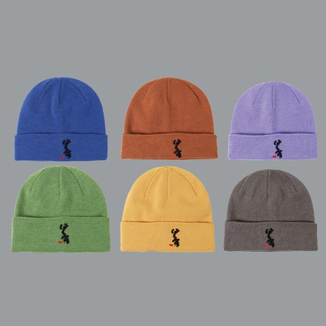 embroidered knitted hat men's candy color Korean  woolen hat  NHTQ267101's discount tags
