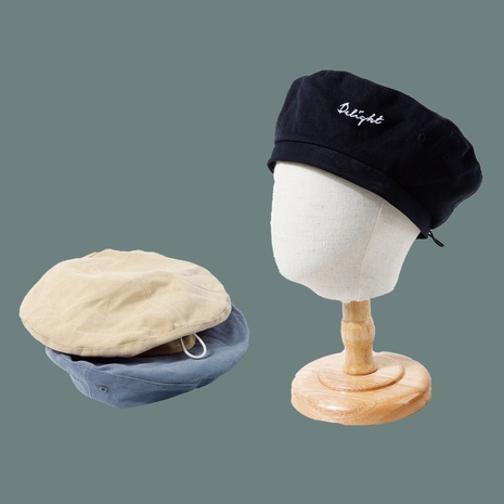 Hot selling fashion embroidery alphabet drawstring retro beret   NHTQ258766's discount tags