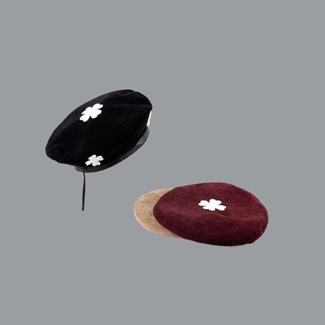 Sombrero de pana salvaje octagonal retro vendedor caliente de la boina de la flor del color puro NHTQ258739's discount tags