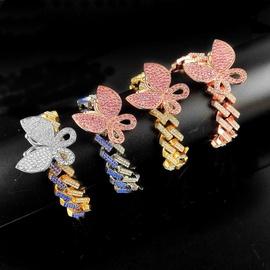 Hip Hop Micro Diamant Schmetterling Magnet Armband NHQC296601