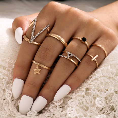 new fashion trendy diamond V-shaped ring set NHGY296603's discount tags