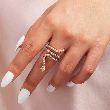 snake-shaped diamond curved adjustable ring NHNZ296653's discount tags