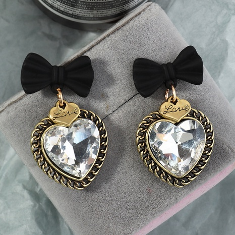 fashion bow heart-shaped zircon earrings NHNZ296660's discount tags