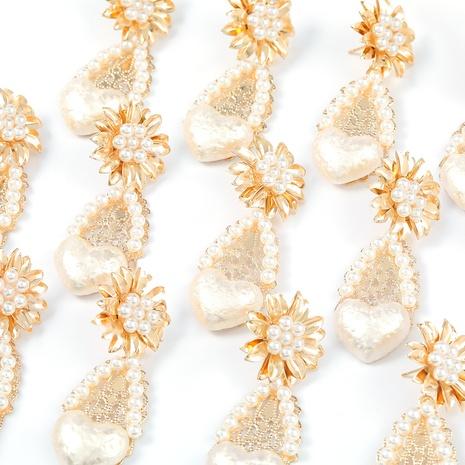 Legierung eingelegte Perle Blume herzförmige Ohrringe NHJE296686's discount tags
