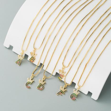 nouveau collier de 26 lettres anglaises en or véritable plaqué cuivre NHLN296711's discount tags