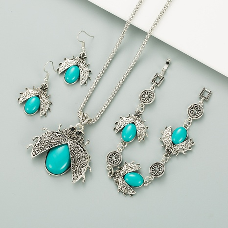 retro ethnic style seven-star ladybug turquoise three-piece suit bracelet earrings necklace NHLN296715's discount tags