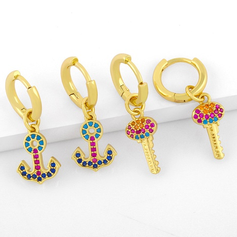 new creative personality anchor key earrings NHAS296733's discount tags