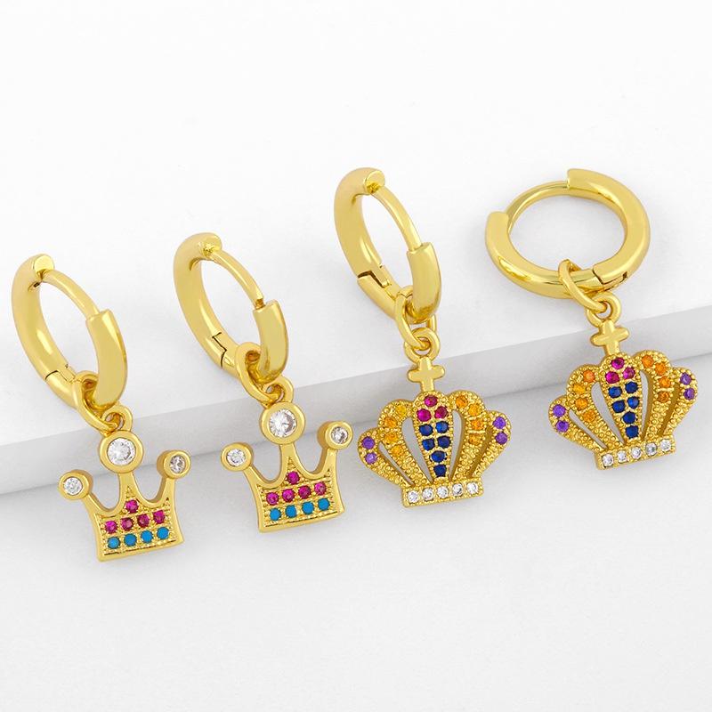 new crown creative personality simple diamond earrings NHAS296734