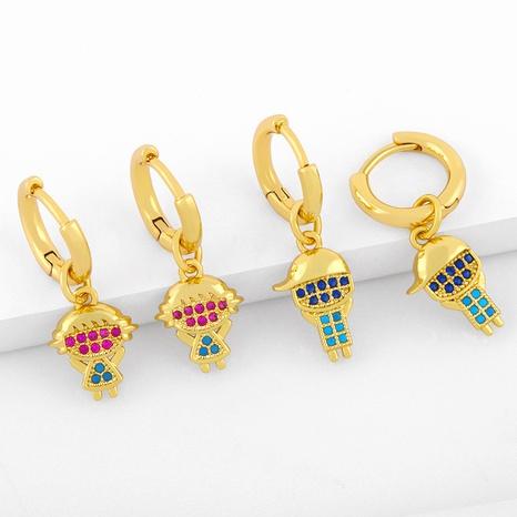 nuevos pendientes de pareja de niño niña de circonita de color diamante NHAS296735's discount tags