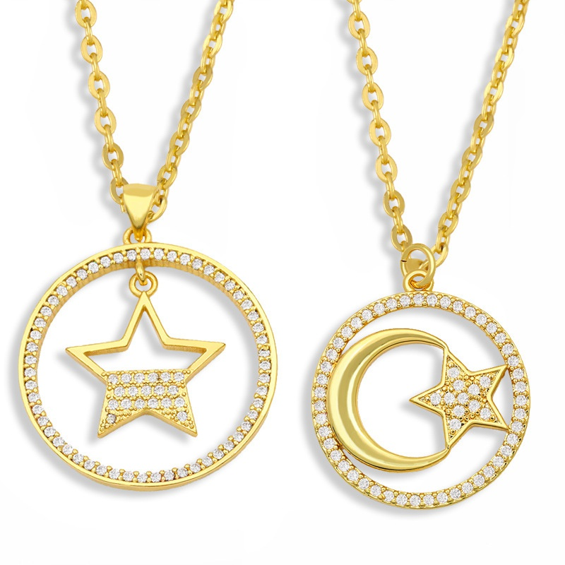 moon star pendant geometric round necklace NHAS296749