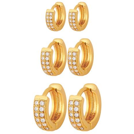 Korean double row diamond small earrings NHAS296752's discount tags