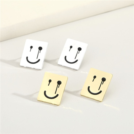 cute cartoon smiley square earrings NHGO296794's discount tags