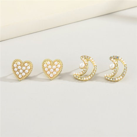 heart diamond-studded pearl earrings NHGO296796's discount tags