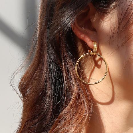 pendientes de oro con doble anillo retro NHOK296811's discount tags
