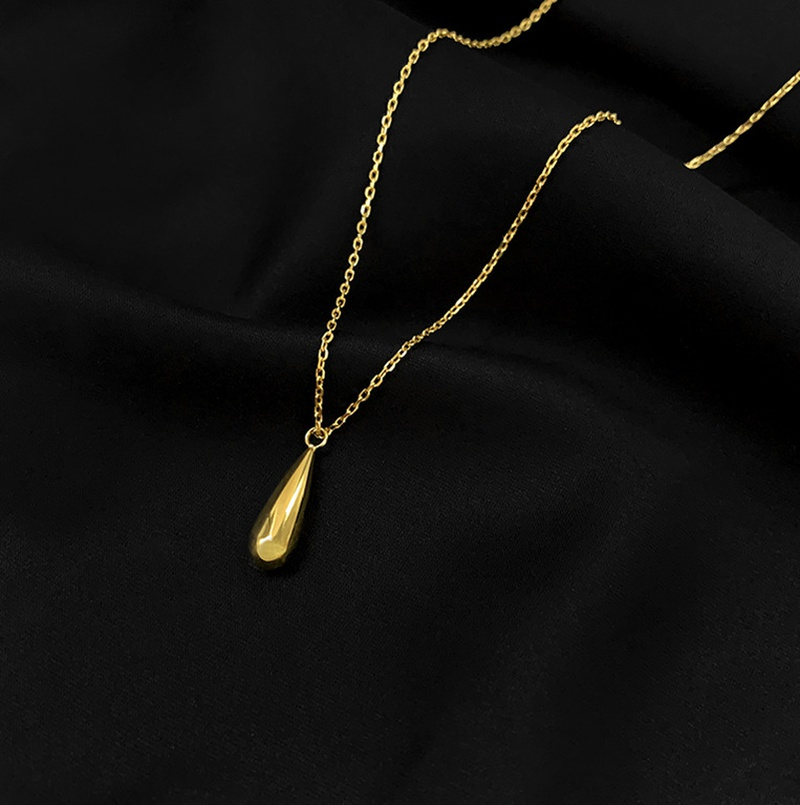 simple water droplet titanium ladle plated gold short necklace NHAB296950
