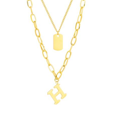 collier rétro lettre H collier double épaisseur carré NHOP296957's discount tags
