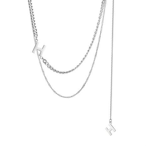 collier en acier titane double épaisseur lettre H NHOP296959's discount tags