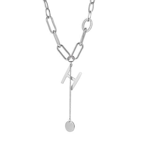 Corée pompon médaillon pendentif rétro lettre H collier en acier titane NHOP296958's discount tags