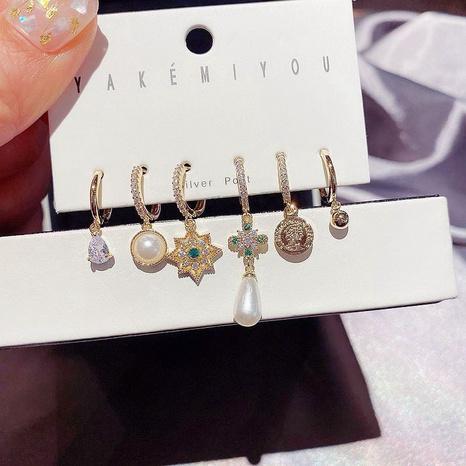 Retro Goldmünze grüner Diamant Zirkon Perlen Ohrringe Set NHCG296974's discount tags