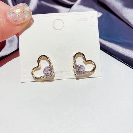 Mode eingelegte Zirkon herzförmige Ohrringe NHCG296995's discount tags