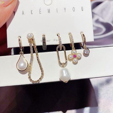 Retro Diamond Imitation Barock Perlen Ohrringe Set NHCG297003's discount tags