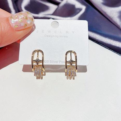 eingelegte Zirkonstern S925 Silbernadelohrringe NHCG297012's discount tags