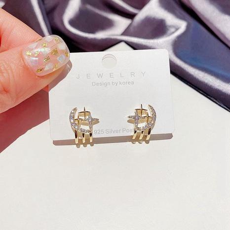 S925 Silber Nadel Nadel Zirkon mikro-eingelegte Sterne Ohrringe NHCG297015's discount tags