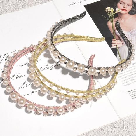 Doppelschichtiges Perlenstirnband NHAQ297067's discount tags