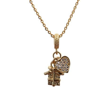 Mikro-eingelegte Zirkon-Herzanhänger-Halskette NHYL297086's discount tags