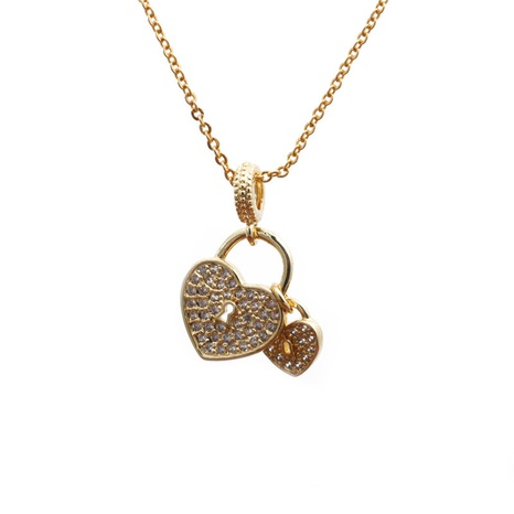 Mikro-eingelegte Zirkon-Herzanhänger-Halskette NHYL297087's discount tags