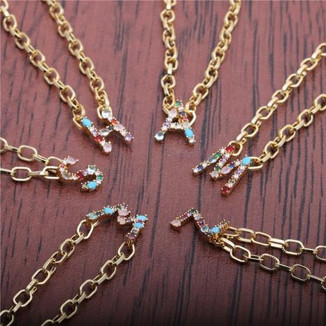 collier à pendentif lettre micro-incrusté de zirconium NHYL297095's discount tags