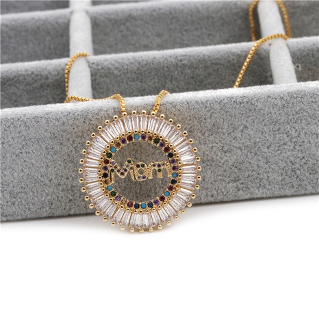 copper micro-inlaid zircon mom pendant necklace NHYL297099's discount tags