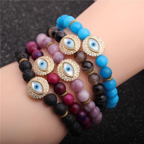 creative 8mm beaded stone demon eye bracelet  NHYL297120's discount tags