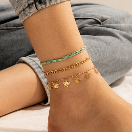 Hollow butterfly alloy chain braided cord anklet set NHGY297942's discount tags