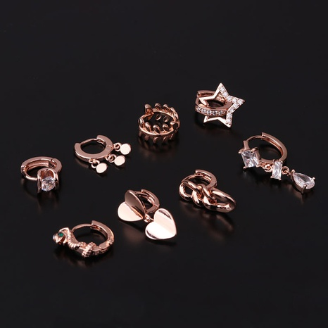 New geometric shape metal texture irregular single earrings NHEN296858's discount tags