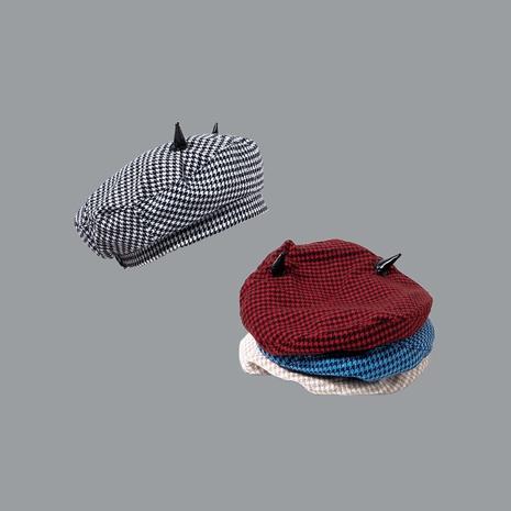 Boina a cuadros de cuernos retro otoño e invierno nuevo sombrero rojo octogonal de red ins sombrero de pintor de moda NHTQ250346's discount tags