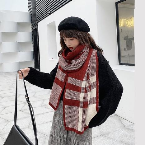 Korean fashion two-color plaid scarf dual-use shawl NHTQ279244's discount tags