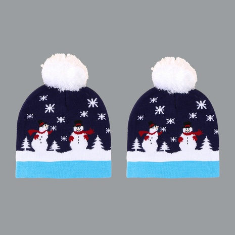 woolen ball Christmas snowman knitted hat NHTQ272783's discount tags
